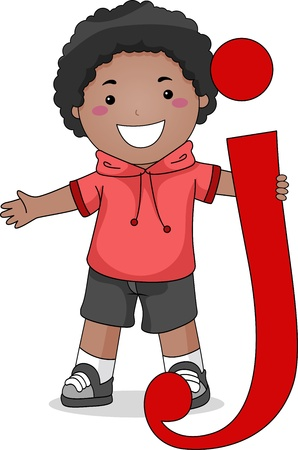 Illustration of a Kid Standing Beside a Letter J illustration