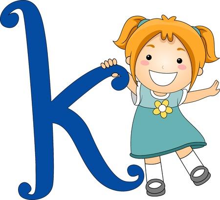 cartoon school girl: Illustration of a Kid Standing Beside a Letter K