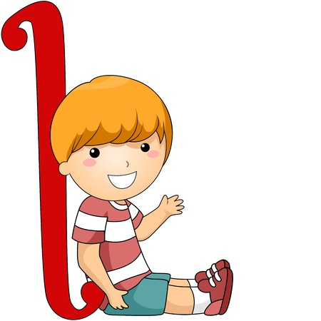 writing materials: Illustration of a Kid Leaning Against a Letter L Stock Photo