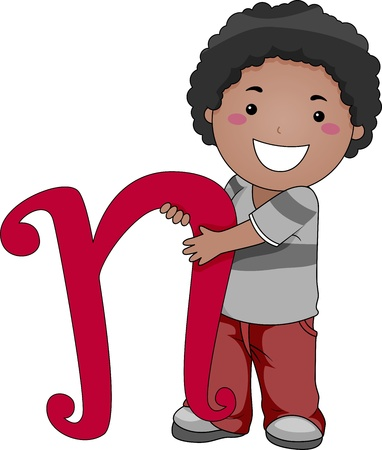 early education: Illustration of a Kid Holding a Letter N Stock Photo