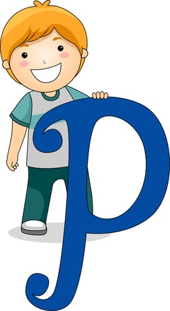 writing materials: Illustration of a Kid Standing Behind a Letter P