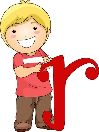 Illustration of a Kid Holding a Letter R illustration