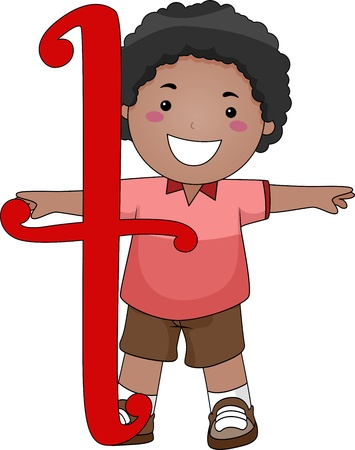 Illustration of a Kid Standing Behind a Letter T illustration
