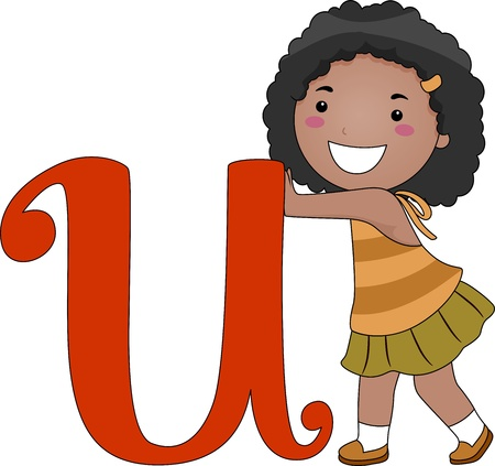 Illustration of a Kid Pushing the Letter U illustration