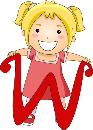 writing materials: Illustration of a Kid Standing Behind a Letter W