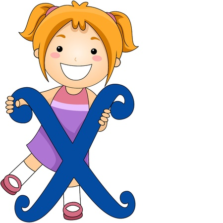 learning materials: Illustration of a Kid Standing Behind a Letter X