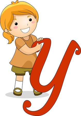 writing materials: Illustration of a Kid Standing Behind a Letter Y