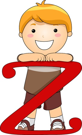 Illustration of a Kid Leaning on a Letter Z