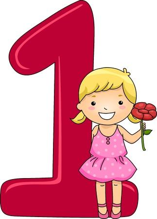 numero uno: Ilustración de un chico que sostiene una flor