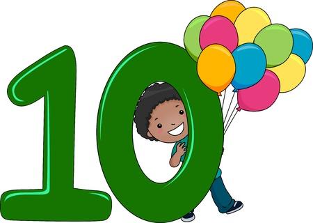 numero diez: Ilustraci�n de un chico celebraci�n Globos