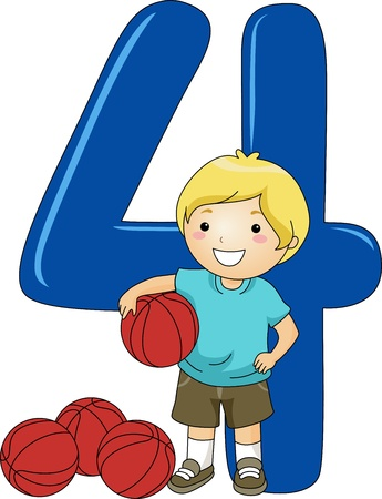 cartoon number: Illustration of a Kid Holding a Ball
