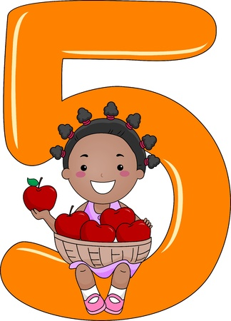 five objects: Illustrazione di un Kid In possesso di un cesto di mele