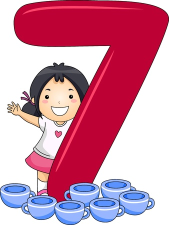 seven: Illustration of a Kid Surrounded by Cups Stock Photo