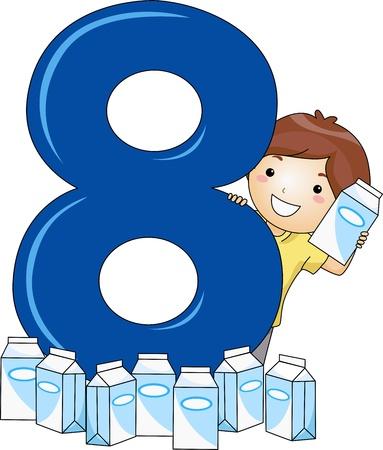 caja de leche: Ilustraci�n de un chico rodeado de cartones de leche Foto de archivo