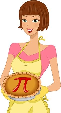 pi: Illustration of a Woman Celebrating Pi Day