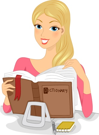 woman reading book: Illustration of a Woman Celebrating Dictionary Day