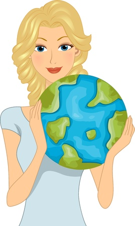 advocacy: Illustration of a Woman Celebrating Earth Day Stock Photo
