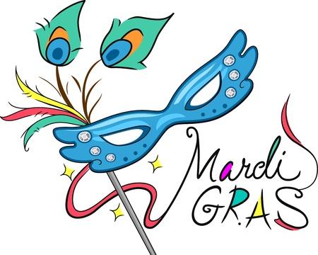 Illustration of a Mardi Gras Mask illustration