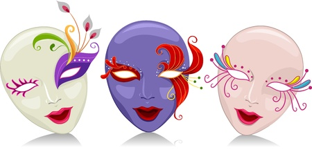 female mask: Illustration Featuring Mardi Gras Masks