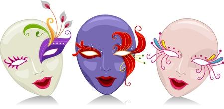 mascaras de carnaval: Ilustración que ofrece máscaras del carnaval