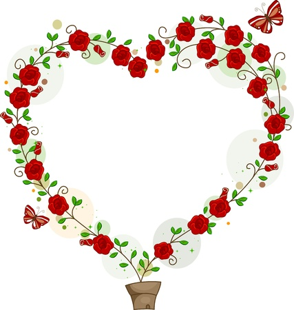 hearts and roses: Illustration of Flowers Forming the Shape of a Heart Stock Photo