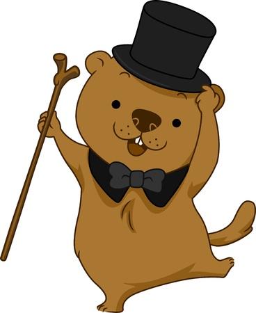 Illustration of a Groundhog Dancing Happily illustration