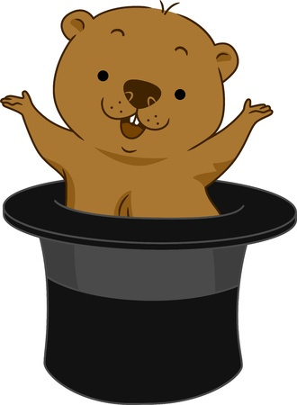 suprise: Illustration of a Groundhog Popping Out of Hat