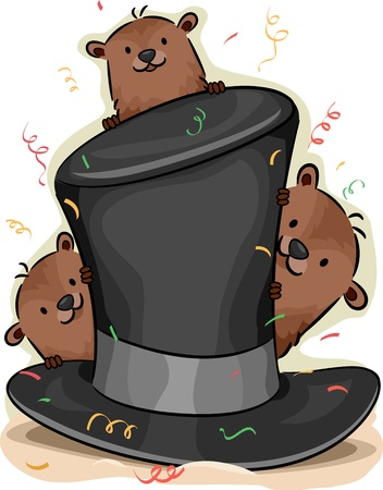 Illustration of Groundhogs Peeking From Behind a Hat illustration