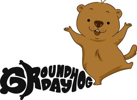 Illustration of a Groundhog Dancing Happily Stock Illustration - 12106976