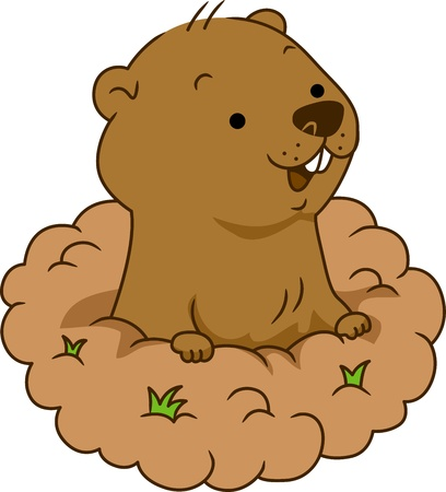 burrow: Illustration of a Groundhog Coming Out of its Burrow