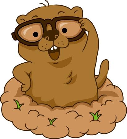 cerdo caricatura: Ilustración de un Gafas Groundhog de desgaste Foto de archivo