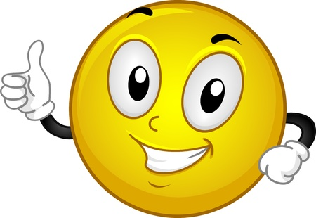arts symbols: Illustration of a Smiley Giving a Thumbs Up