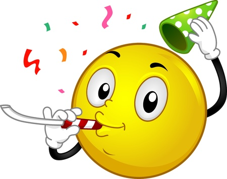 celebration smiley: Illustration of a Party Smiley Stock Photo