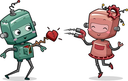 Illustration of a Female Robot Stealing the Heart of a Male Robot illustration