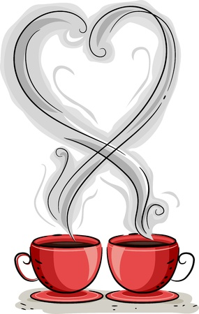 Illustration of Coffee Steam Forming the Shape of a Heart Stock Illustration - 12107086