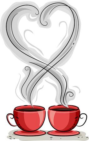 enamorados caricatura: Ilustraci�n de vapor del caf� La formaci�n de la forma de un coraz�n
