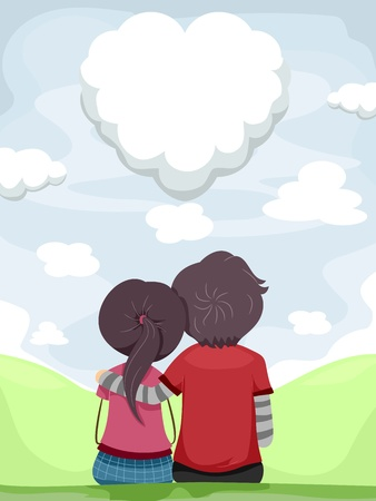 Illustration of a Couple Gazing at the Heart Shaped-cloud illustration