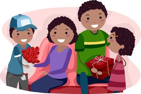 convivencia familiar: Ilustraci�n de los ni�os que dan a sus padres regalos de San Valent�n