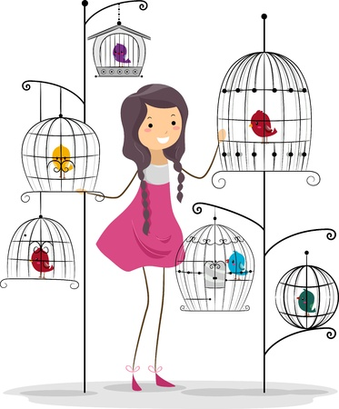 lady bird: Illustration of a Girl Surrounded by Birds Stock Photo