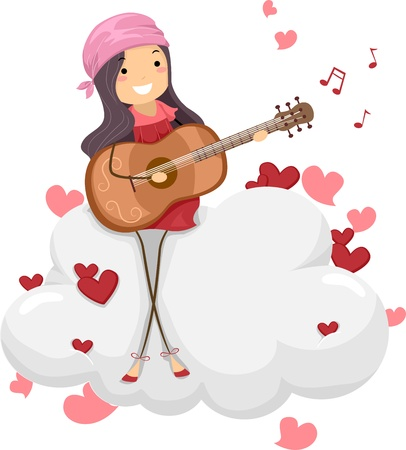 pastime: Illustration of a Girl Playing Guitar