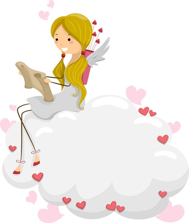 matchmaking: Illustration of a Female Cupid Reading a Scroll Stock Photo