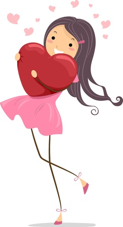 tightly: Illustration of a Girl Hugging a Heart-shaped Pillow Tightly Stock Photo