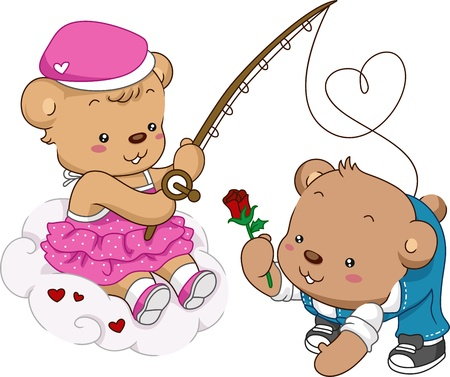 courtship: Illustration of Female Teddy Bear Out Fishing