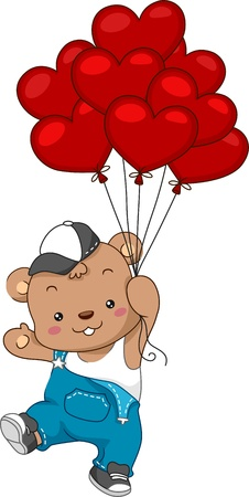 stuffed toy: Illustration of a Teddy Bear Delivering Balloons