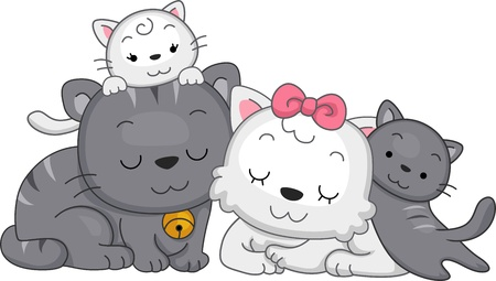 family pet: Illustration Featuring a Family of Cats Stock Photo