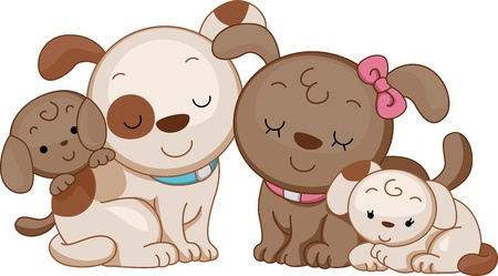 animal time: Illustration Featuring a Family of Dogs Stock Photo