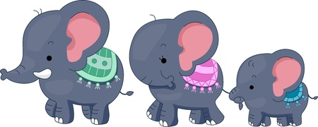 animal time: Illustration Featuring a Family of Elephants Stock Photo
