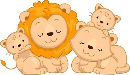 animal time: Illustration Featuring a Family of Lions