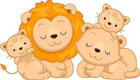 of lions: Ilustraci�n que ofrece una familia de leones