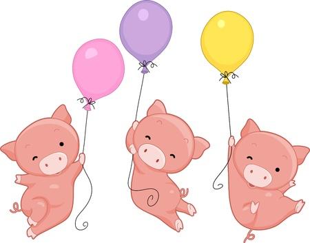 cochinitos: Ilustración de Cochinos celebración del Día del cerdo